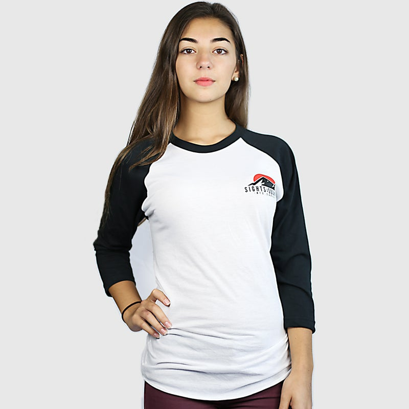 Image of Peaks 3/4 Sleeve Raglan Shirt (Women) (Black)