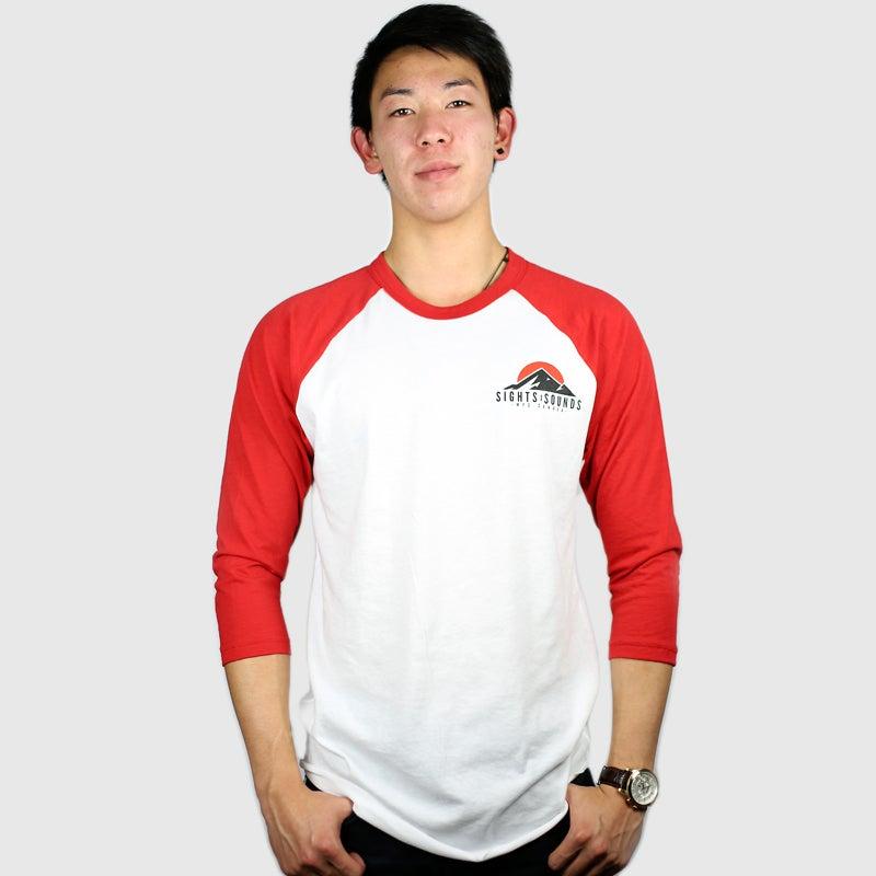 Image of Peaks 3/4 Sleeve Raglan Shirt (Red)