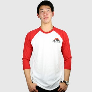Image of Peaks 3/4 Sleeve Raglan Shirt (Red)
