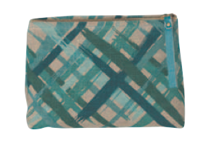 Image of Emerald City Stripe Linen Small Cosmetic Bag