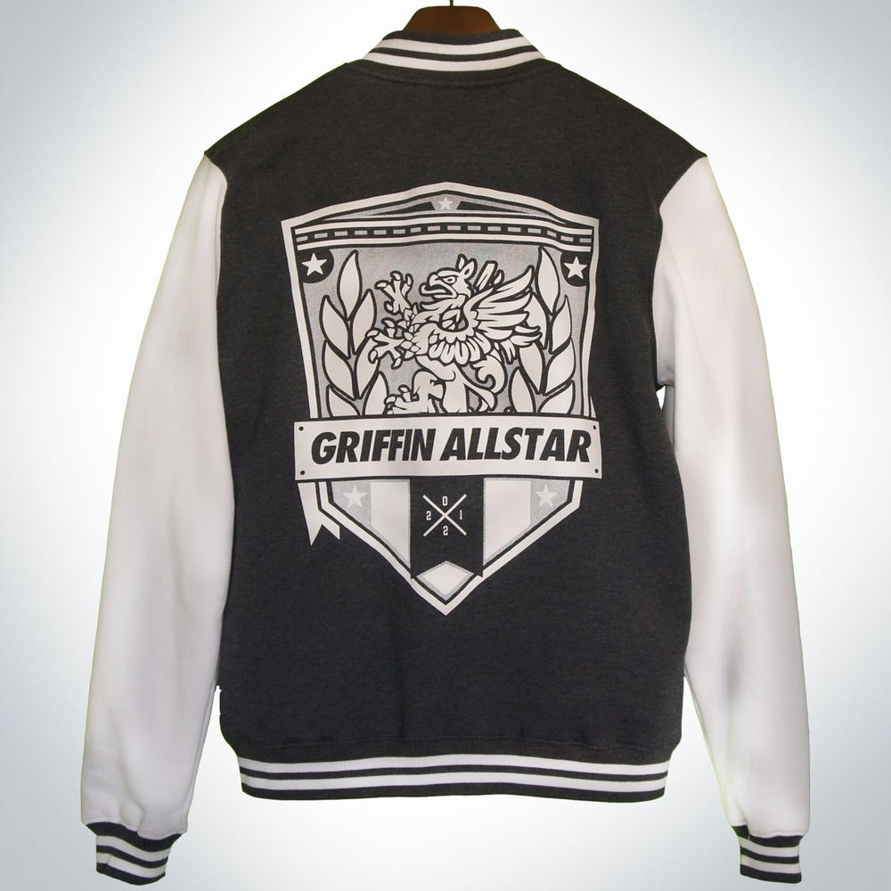 Image of Varsity Jacket Charcoal/ White