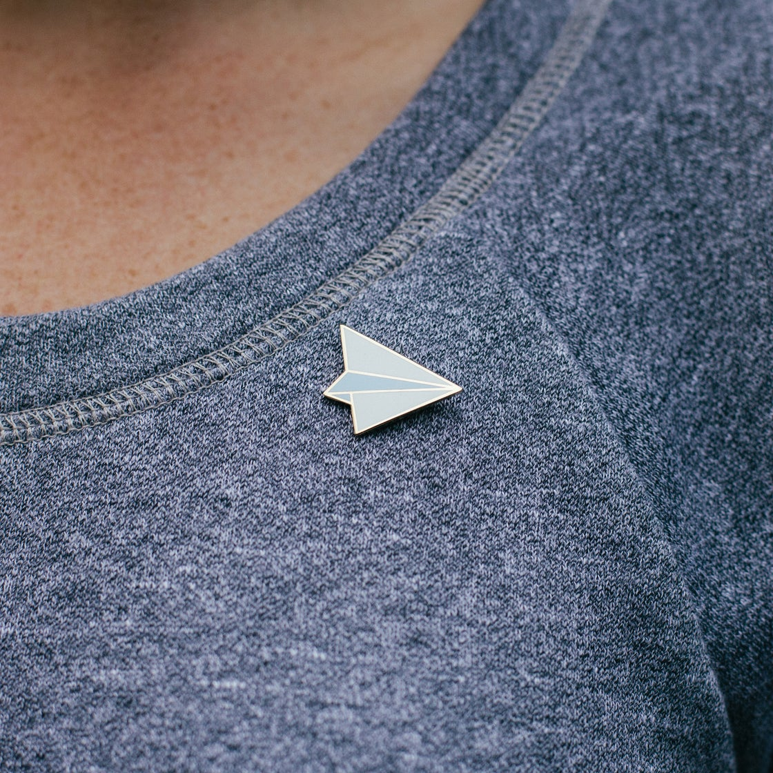 Image of Enamel Paper Airplane Pin