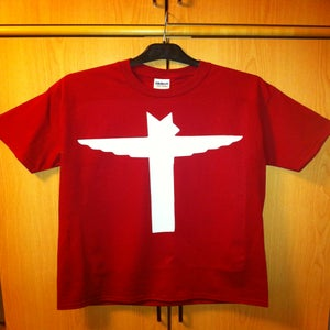 Image of White Totem on Cardinal Red Tshirt