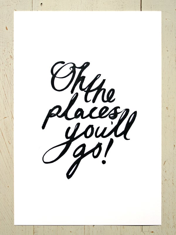 Image of Oh the places you'll go! art print - Black