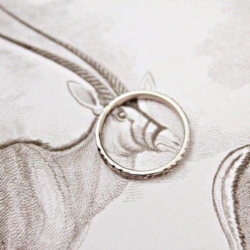 Image of platinum 2mm flat court floral engraved