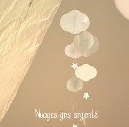 Image of Guirlande nuages étoiles, gris, mandarine, violet, orchidée...