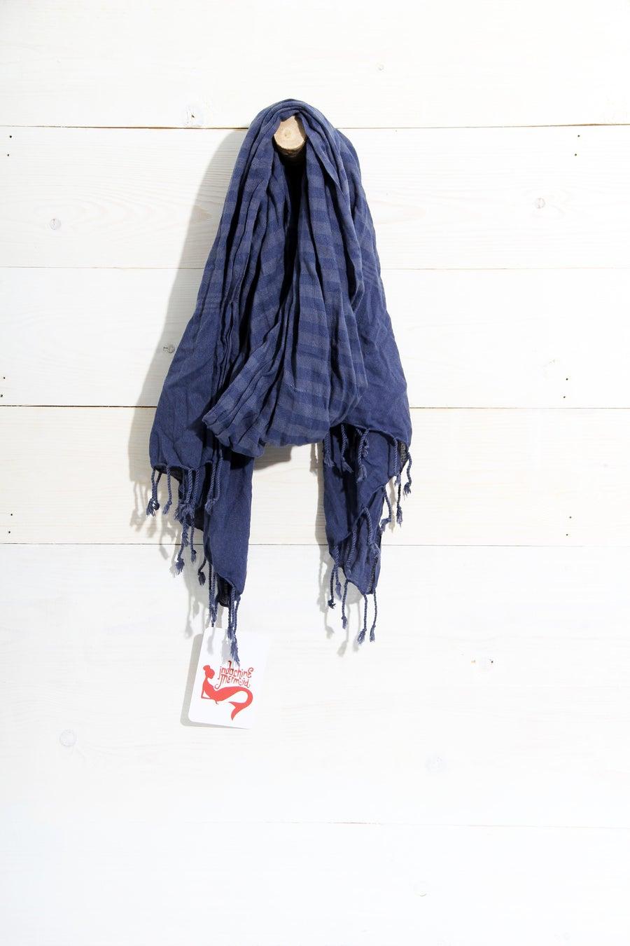 Image of Schal aus Baumwolle ∞ Nachtblau
