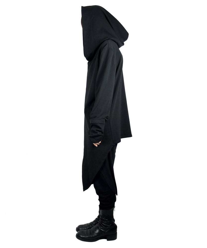 Image of Hooded Fingerless Oversize Zipper Jacket