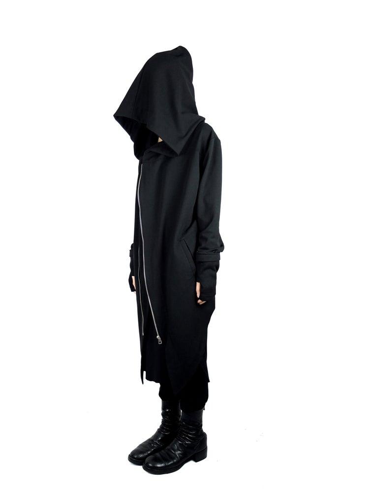 Image of Hooded Fingerless Oversize Zipper Jacket