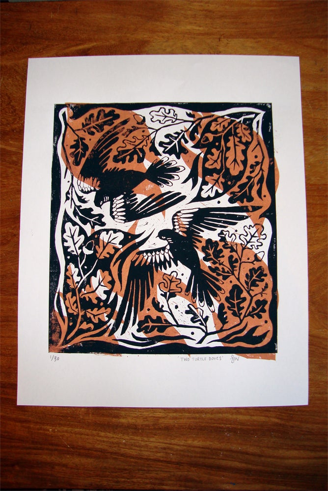 Image of Two Turtle Doves Lino Print