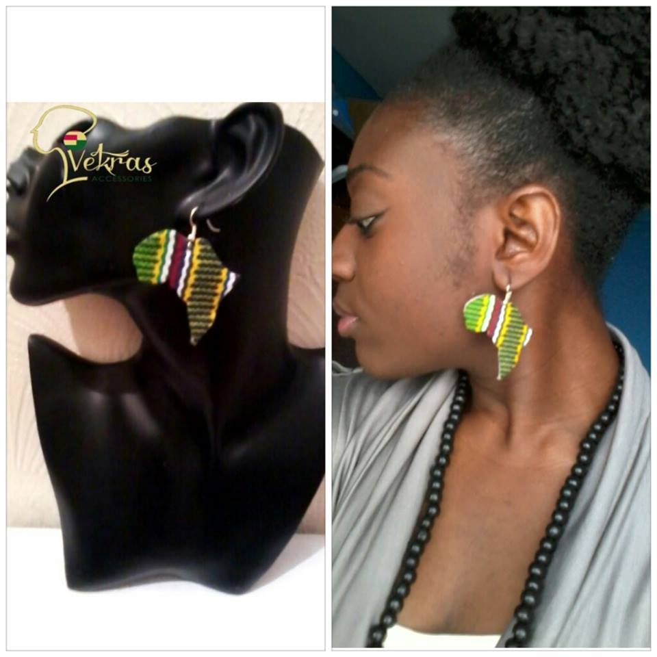 Image of Vekras MultiColoured Green Africa Shaped Earrings