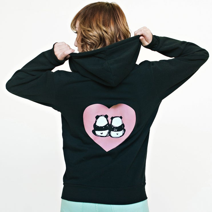 "Image of ""Panda Bums in Love"" Zipper Hoodie"
