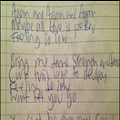 Image of Signed Handwritten Lyric Sheet