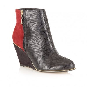 Image of Ravel mirage black and burgundy leather wedge boots
