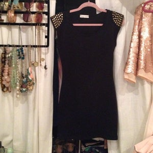 Image of Brand New LBD with studded sleeves - Size S