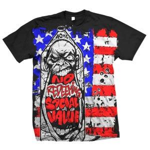 "Image of NO REDEEMING SOCIAL VALUE ""Oversize Bottle Guy Flag"" T-Shirt"