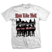 "Image of RUN LIKE HELL ""New York Streetrock"" White T-Shirt"