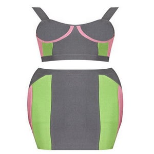 """Image of """"Ashley"""" Gray Pink and Green Crop Top and Skirt Bandage Duo Set"""