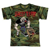 "Image of SHEER TERROR ""Bulldog Walker"" Camo T-Shirt"