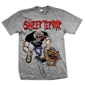 "Image of SHEER TERROR ""Bulldog Walker"" Heather Gray T-Shirt"