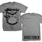 "Image of SHEER TERROR ""Old School Bulldog"" Charcoal Gray T-Shirt"
