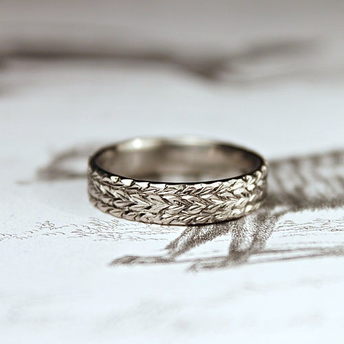 Image of palladium 5mm flat court herringbone ring