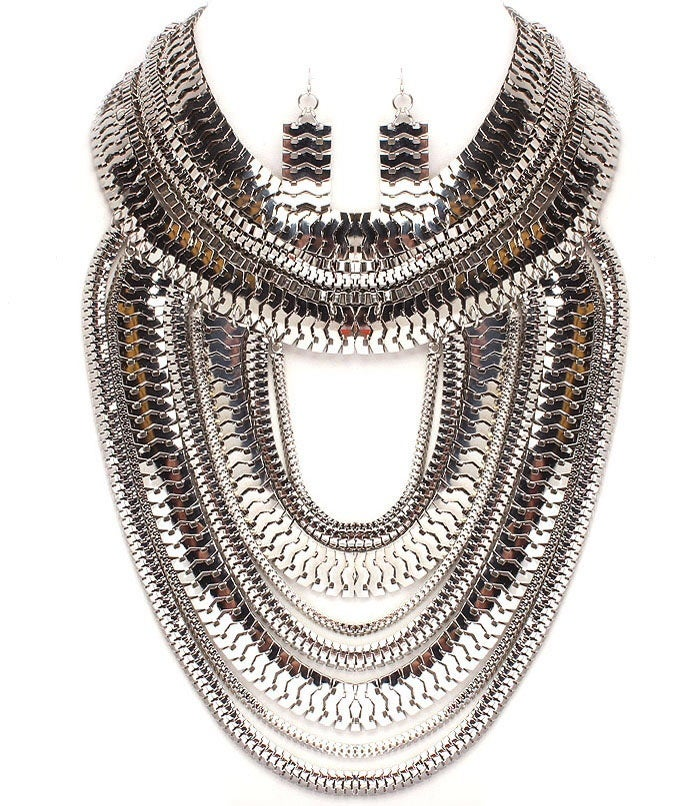 Image of Herringbone Bib Necklace Earring Set