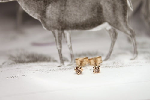 Image of 'little 2.5mm champagne diamond' stud earrings
