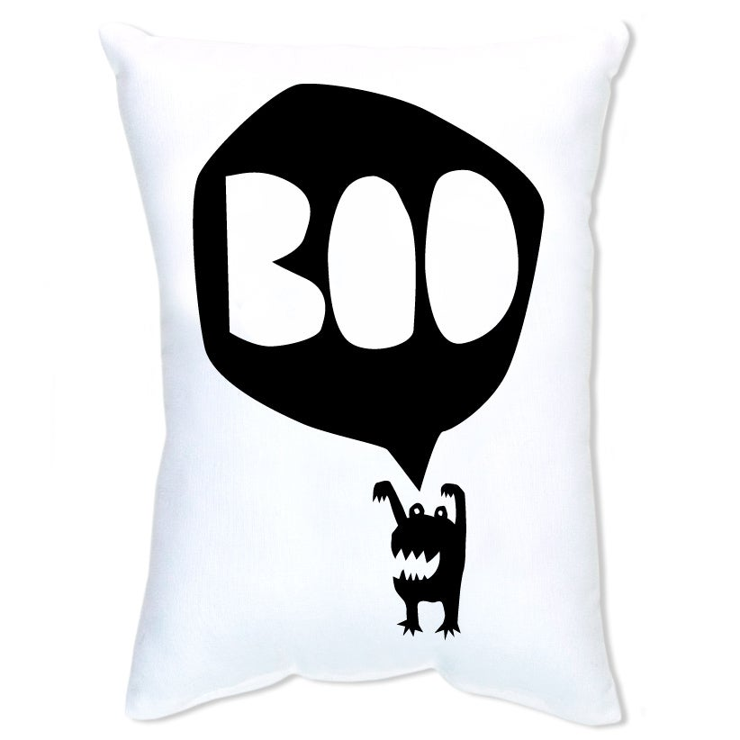 Image of BOO Monster Cushion - Black on White