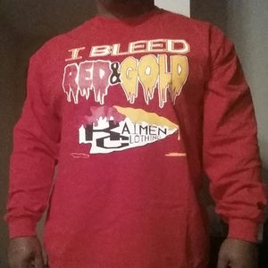 Image of I BLEED RED & GOLD!!! - Men Long Sleeve