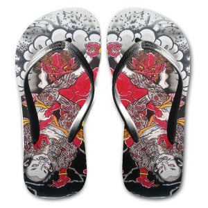Image of 'Samurai vs Oni' flip-flop