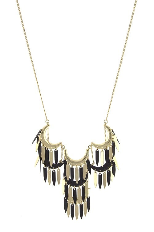 Image of Feather Fringe Crescent Necklace (more colors)