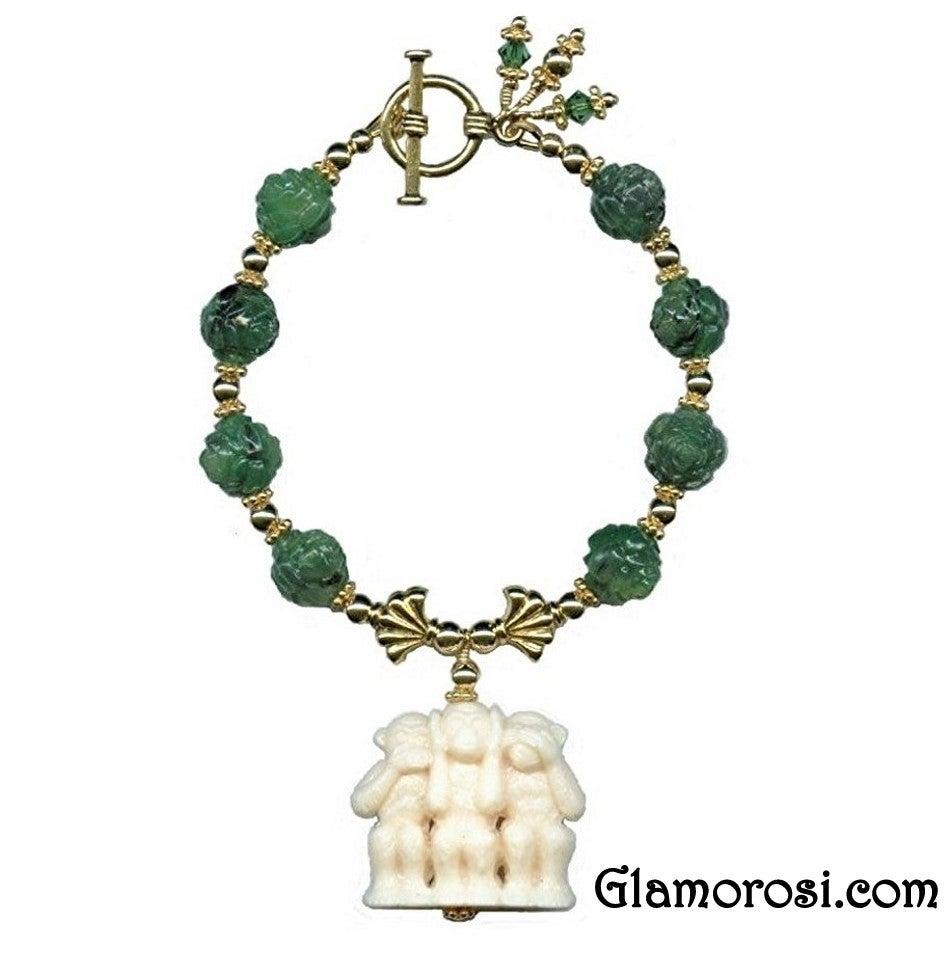 Image of Three Wise Monkeys Bracelet - Vintage Lucite, Gold Vermeil, Crystal