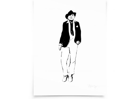 Image of Quentin Crisp on paper - Screenprint