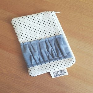 Image of Chambray medium zip pouch // Fancy Dot