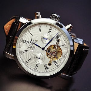 Image of Mens Leather Fashion Magnificent Watch / Handmade Antique Automatic Mechanical Watches (WAT0240)