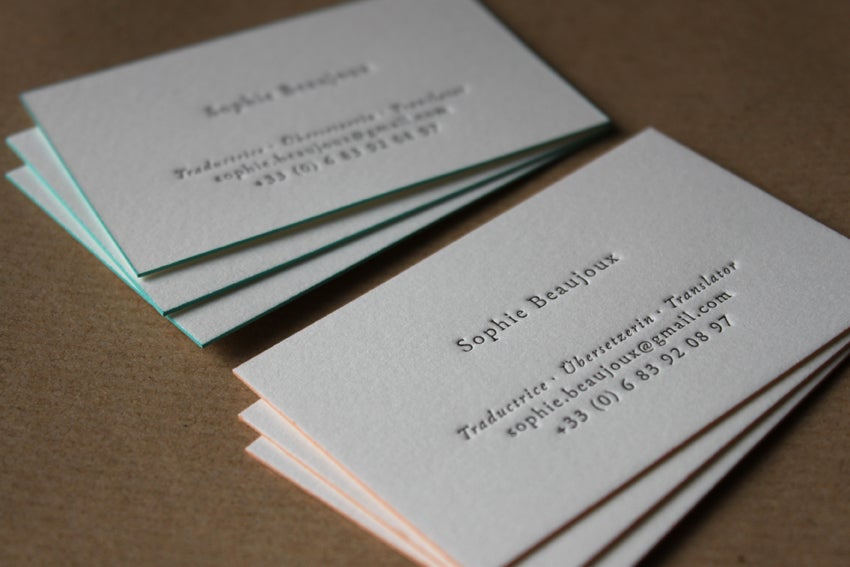 Image of Letterpress Business Cards, on Natural White Cotton stock // made to order - set of 200