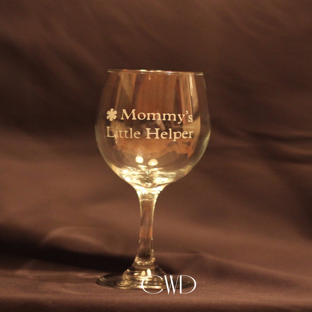 Image of Mommy's Little Helper Etched Wine Glass