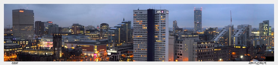 Image of Manchester city centre dusk panorama from Tempus Tower