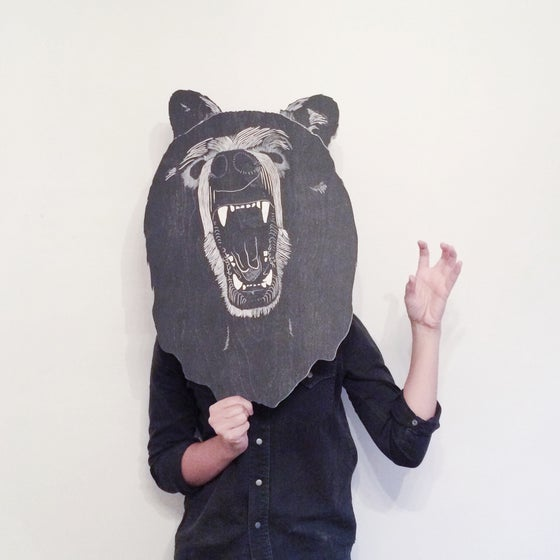 Image of PRE-ORDER Mary's Grizzly Bear Head Woodcut Sculpture Print