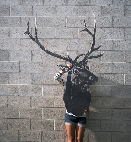 Image of Mike's 6 Point Elk Woodcut Sculpture Print