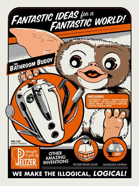 Image of 'Bathroom Buddy' Gremlins Print