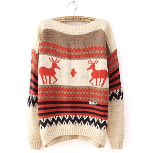 Image of The deer pattern striped sweater