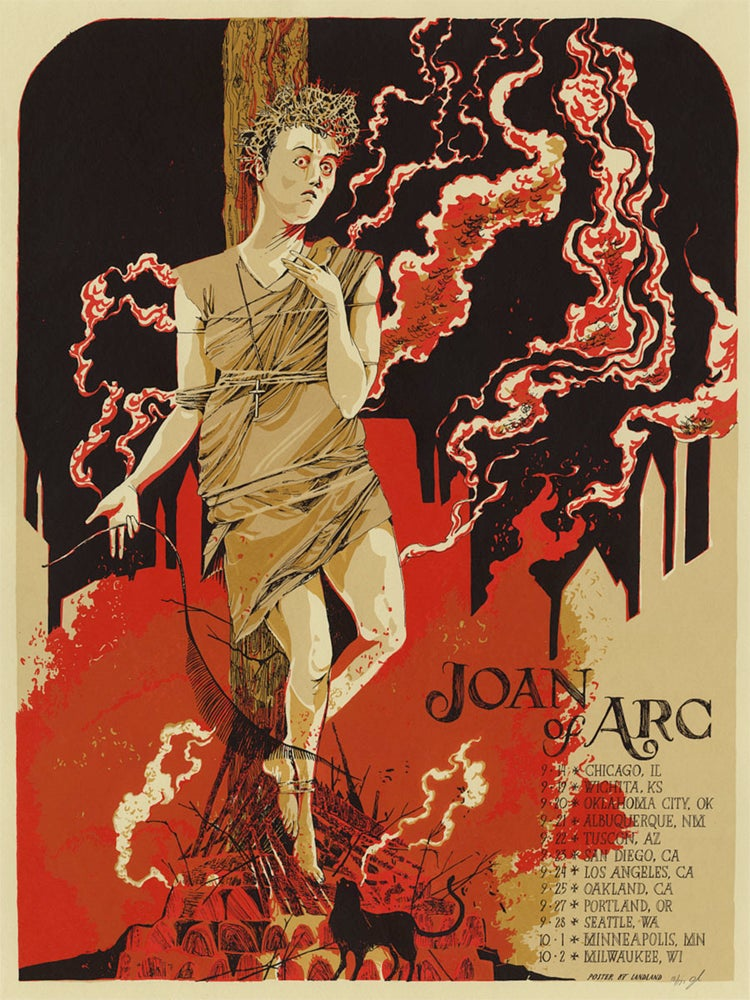 "Image of Joan of Arc (Fall 2013 U.S. Tour) • Limited Edition Official Poster (18"" x 24"")"
