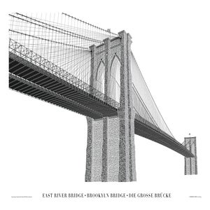 "Brooklyn Bridge 24""x16"" Letterpress Poster (Limited Edition)"
