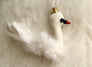 Image of White Velvet Swan Ornament