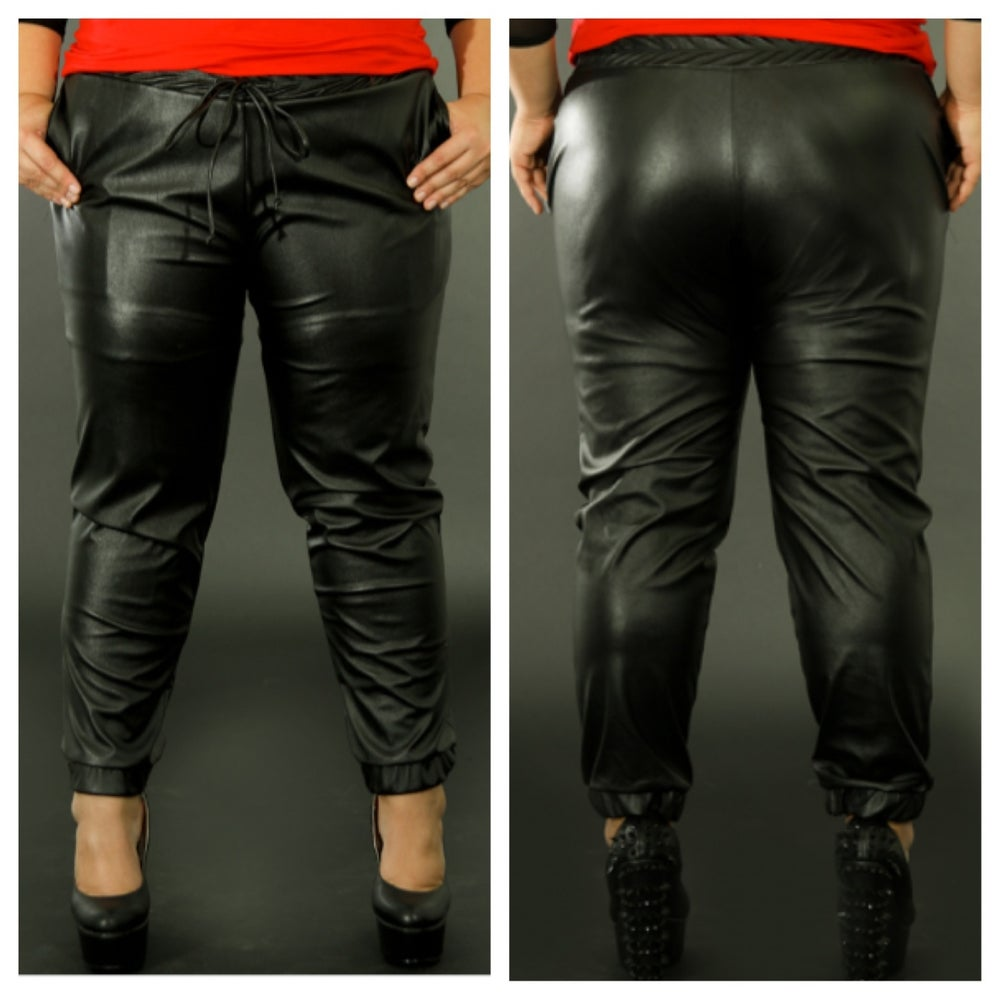Image of Faux Leather Sweatpants