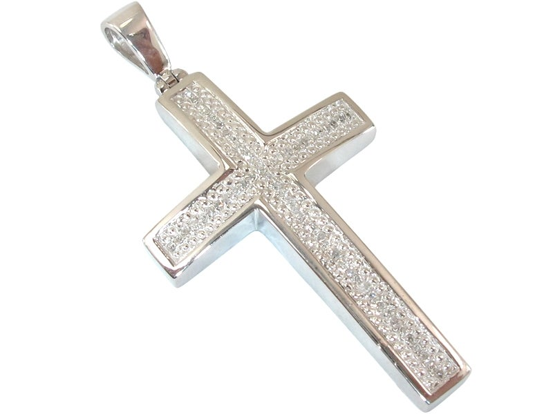 Micro 925 white sterling silver diamond cross pendant dz image of micro 925 white sterling silver diamond cross pendant aloadofball Choice Image