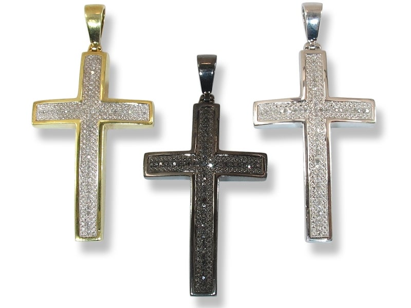 Image of  Micro .925 WHITE STERLING SILVER DIAMOND CROSS PENDANT