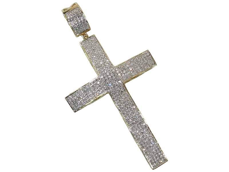 Image of 10K GOLD DIAMOND CROSS PENDANT 1.70 CT